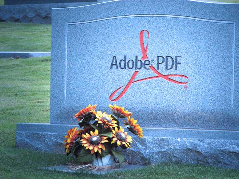 Adobe PDF on Gravestone