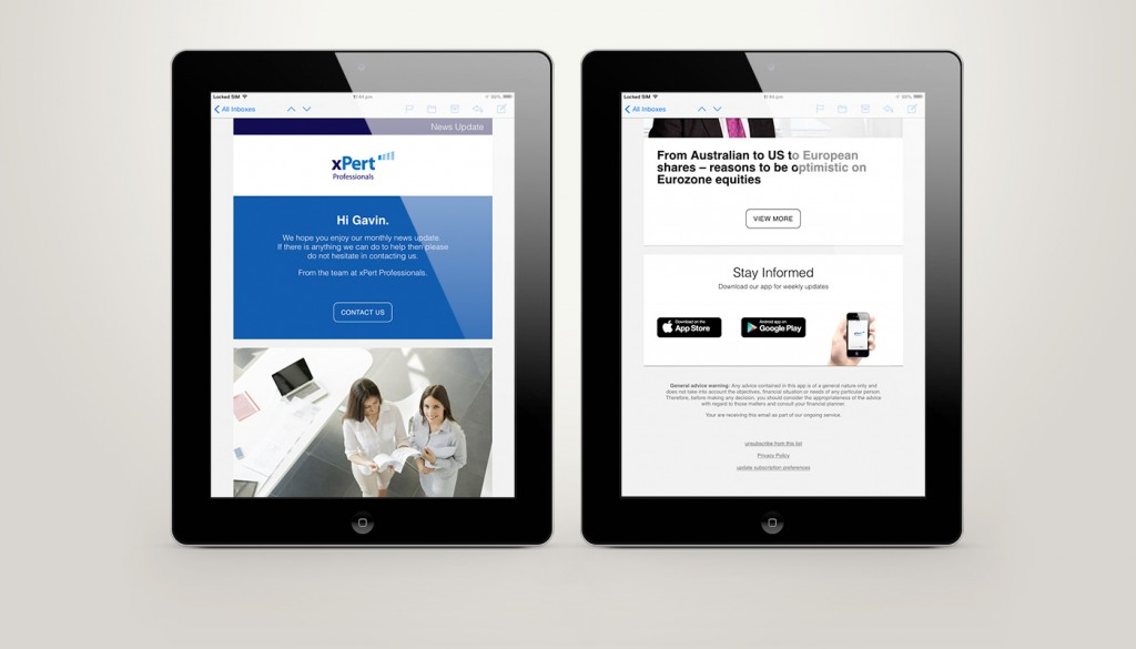 New FeedsyMail eNewsletter template on iPads