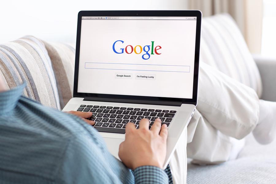 Simferopol Russia - July 13 2014: Google biggest Internet search engine. Google.com domain was registered September 15 1997.